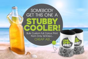 One-Spot Print - Stubby Coolers Cheap